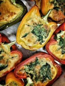 Easy Lunchtime meals. Cheddar and Spinach filled Peppers