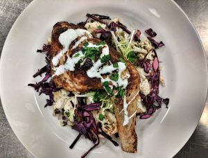 Easy Lunchtime Meals. Harissa Spiced Chicken Leg served with Roasted Cauliflower and Pickled Red Cabbage.