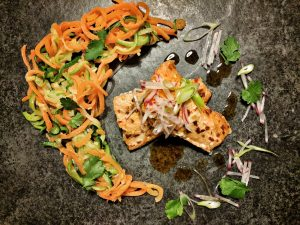 Evening meals that pack a punch. Hot Smoked Chilli Salmon with Courgette and Carrot Noodles.