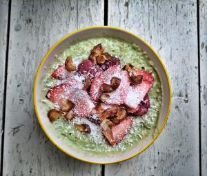 Overnight Oats. Matcha, Coconut and Strawberry overnight oats.