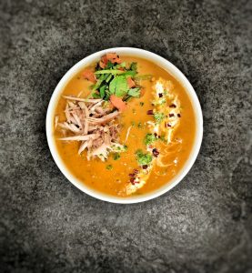 Turn soup into a Main meal. Thai Butternut squash soup with shredded chicken and vegetables.