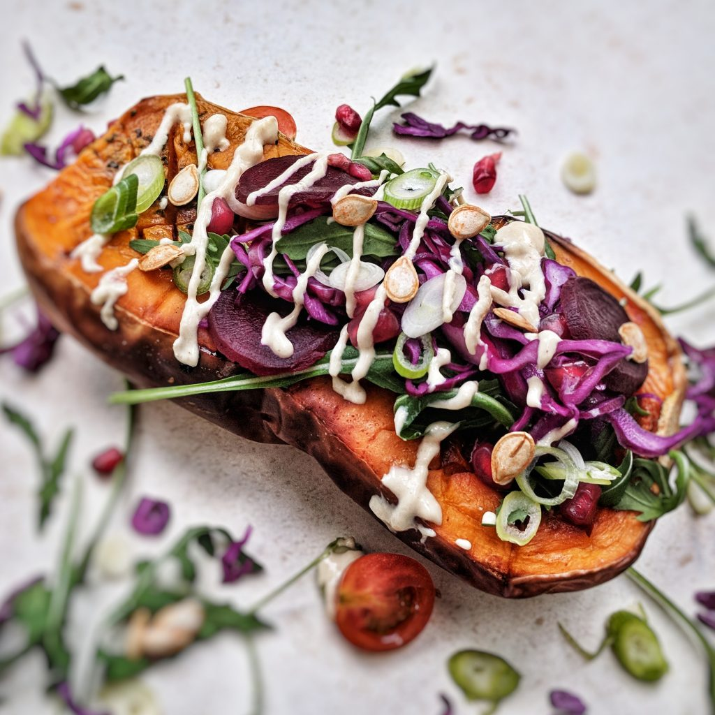 Roasted Butternut Squash filled with Pickled Red Cabbage, Pomegranate and Feta