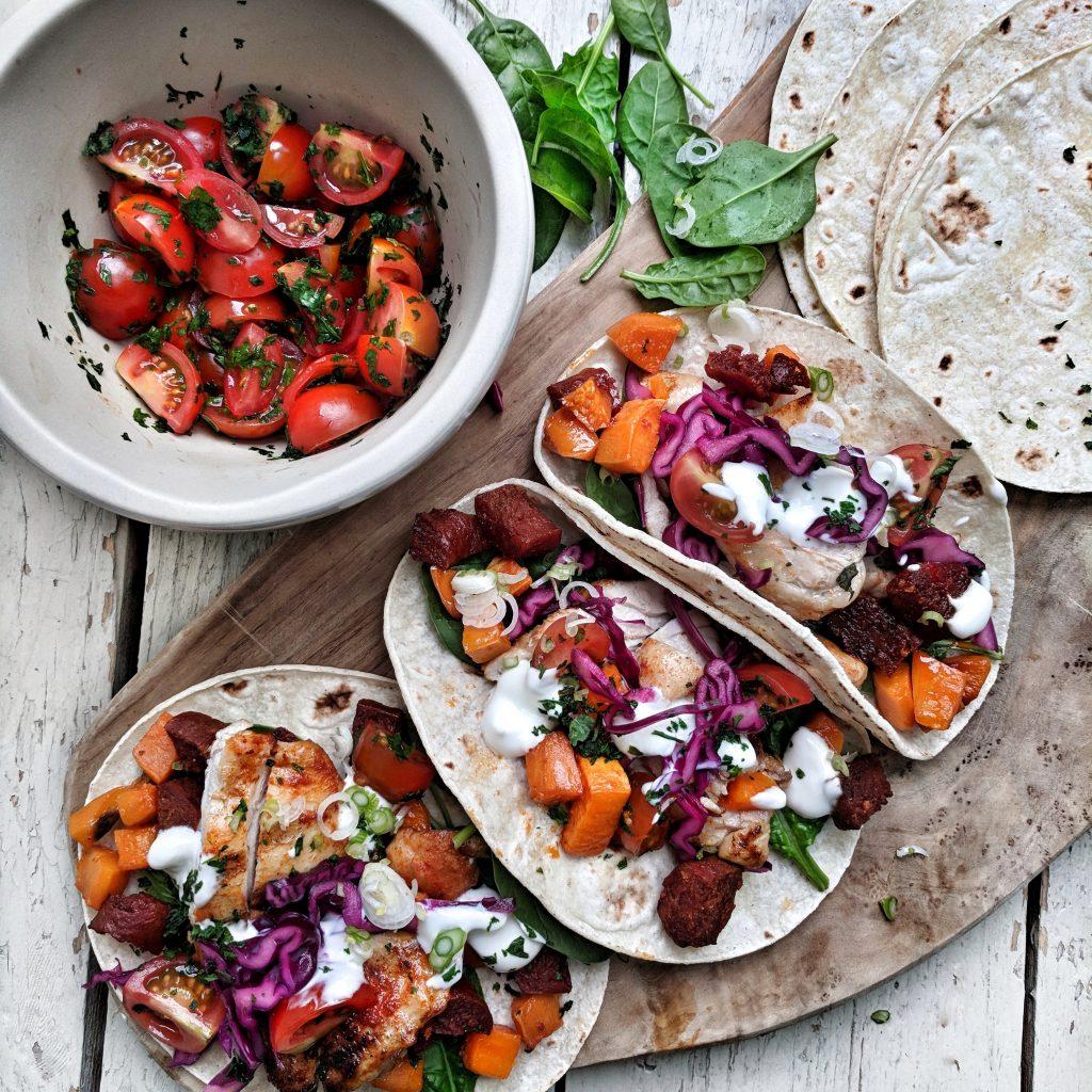 Chicken, Sweet Potato and Chorizo Tacos