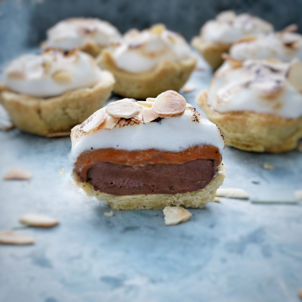 Chocolate tart with Almond & Maca nut butter topped with meringue