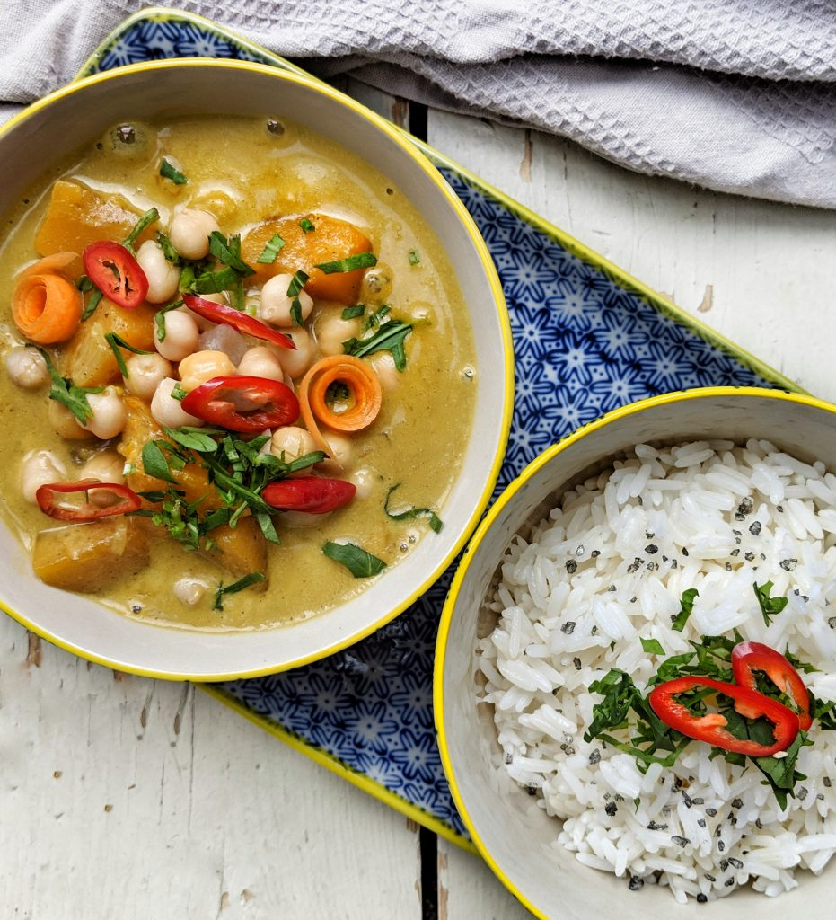 Butternut squash, coconut & chickpea curry with rice